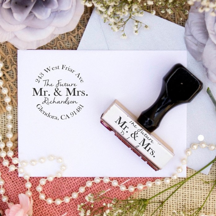 mr and mrs wedding stamp