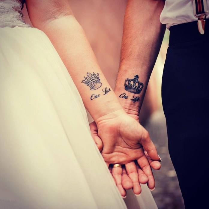 King and queen wedding tattoo