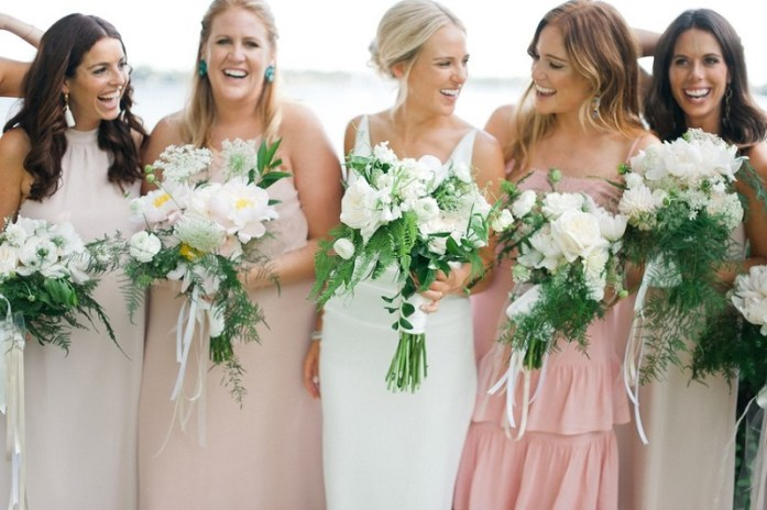 matching bridal bouquet with the dress