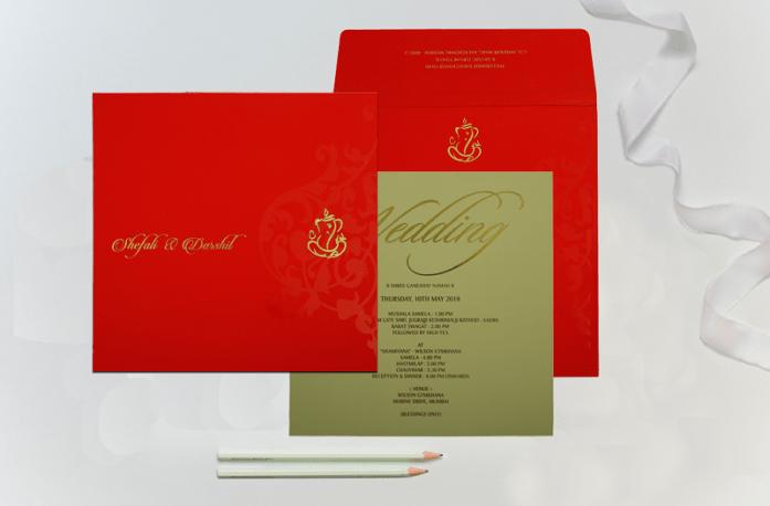 Ganesha theme hindu wedding invitations CW-1838