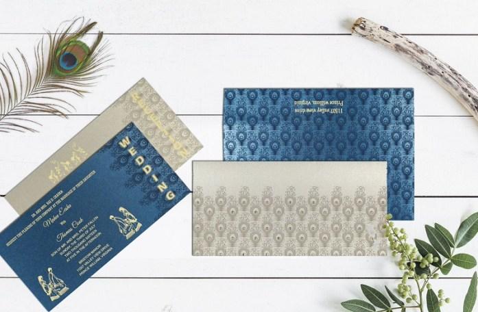 Peacock wedding invitations CIN-8256H