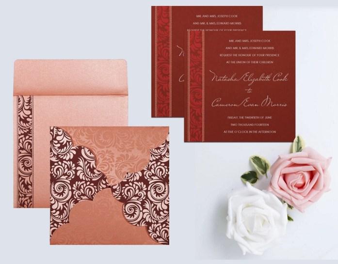 Unique shape wedding invitations CIN-8235D