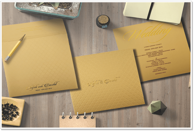 KHAKI-MATTE-BOX-THEMED-EMBOSSED-WEDDING-INVITATION : CIN-1851-IndianWeddingCards