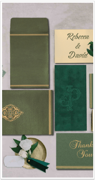 DARK OLIVE GREEN SHIMMERY EMBOSSED WEDDING CARD-IndianWeddingCards