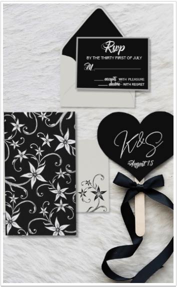 BLACK MATTE FLORAL THEMED - SCREEN PRINTED WEDDING INVITATION-IndianWeddingCards