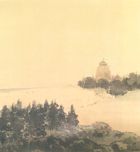 Gaganendranath Tagore - Puri Temple, Water colour on paper, 18.3 x 20.5 cm, National Gallery of Modern Art, New Delhi