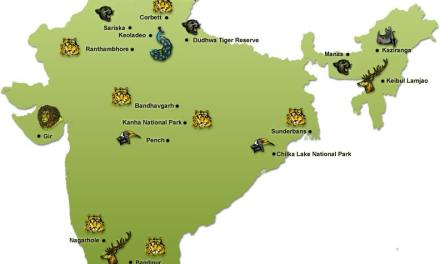 Location of India s famous Wildlife Sanctuaries National Parks