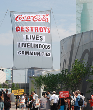 Banner at Coca-Cola Museum Photo: A. Samulon/India Resource Center