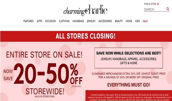 Charming Charlie to close all 261 stores; files Chapter 11 bankruptcy