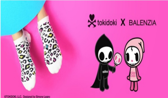 Socks brand Balenzia collaborates with tokidoki