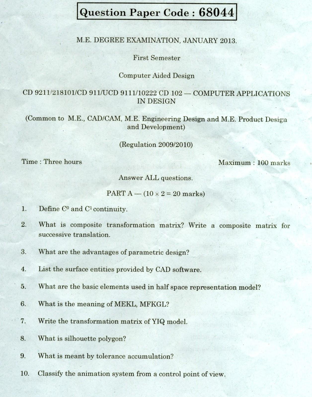 Anna University Chennai Cd Computer Applications In Design Anna University Question Paper