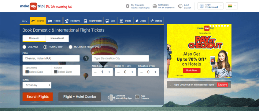 Makemytrip website