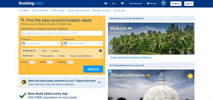 booking website screenshot