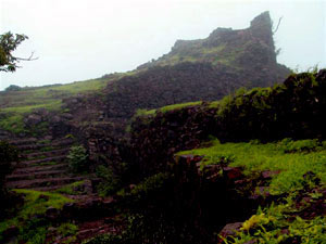 Koraigarh Fort atop a hill