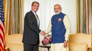Defense Secretary Ash Carter shakes hands with Indian Prime Minister Narendra Modi during their meeting at the Blair House in Washington, Tuesday, June 7, 2016. (AP Photo/Andrew Harnik)