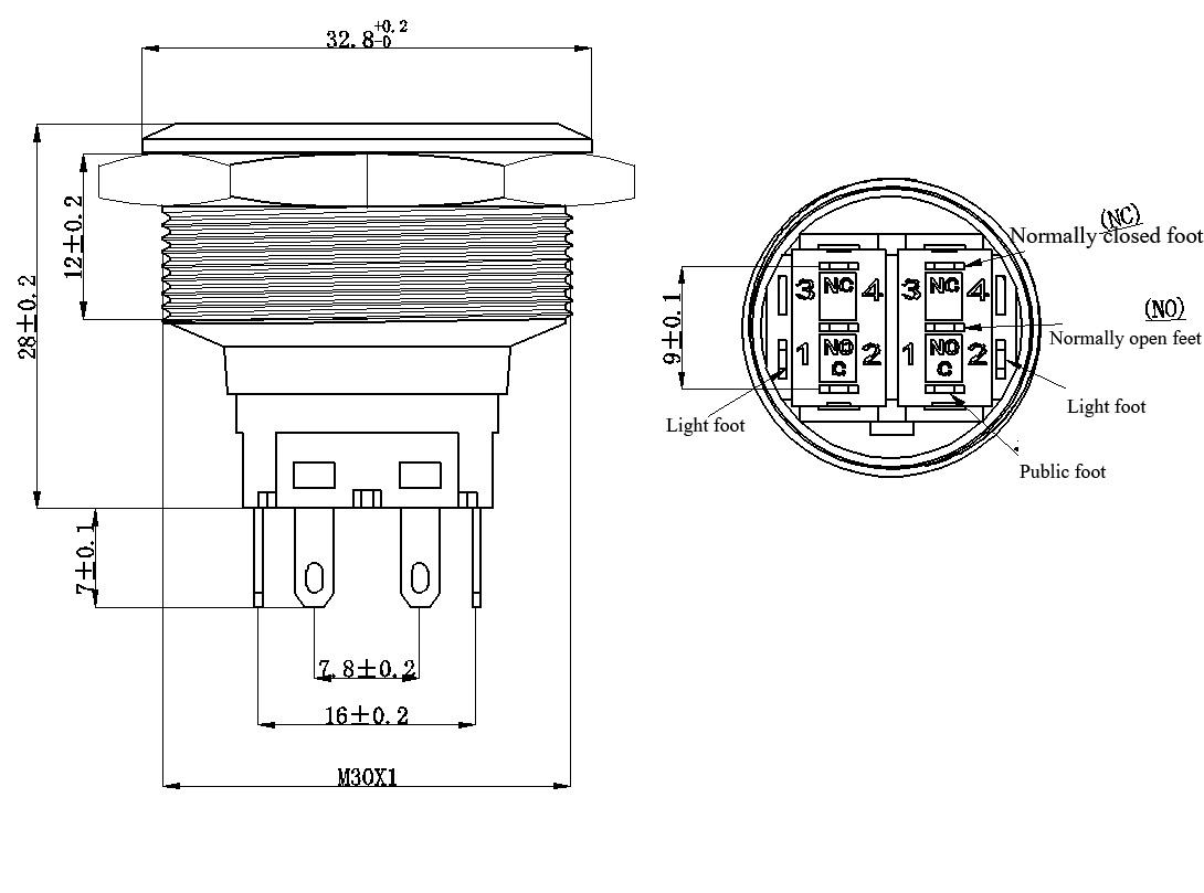 30mm 1 18inch Ring Led Illuminated Flat Head Metal Push