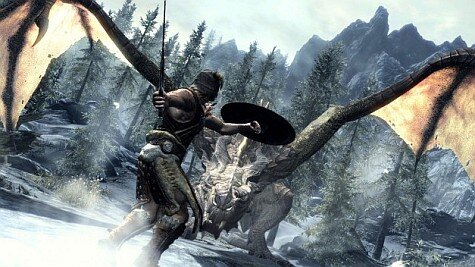 Skyrim-screenshots-dragon hunting