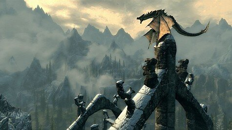 The Elder Scrolls 5: Skyrim - dragon on mountain