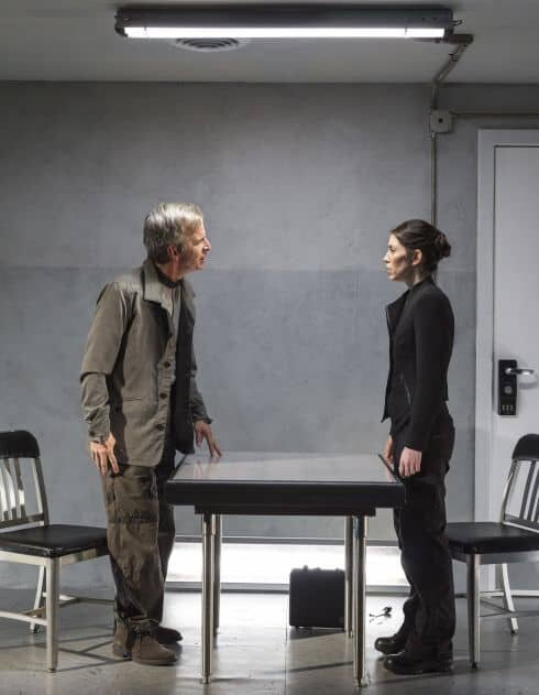 """Robert Joy and Jeanne Syquia in the world premiere of """"The Nether.""""  Directed by Neel Keller, Jennifer Haley's gripping new play explores the moral complexity of our increasingly virtual existence.  """"The Nether"""" is at Center Theatre Group's Kirk Douglas Theatre, March 19 through April 14, 2013, with the opening on March 24. Photo by Craig Schwartz"""