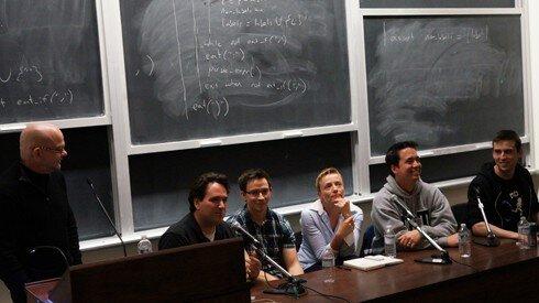 From left to right: Avrim Katzman, Ryan Creighton, Dan Cox, Emma Westecott, Steve Engels, and Michael Todd