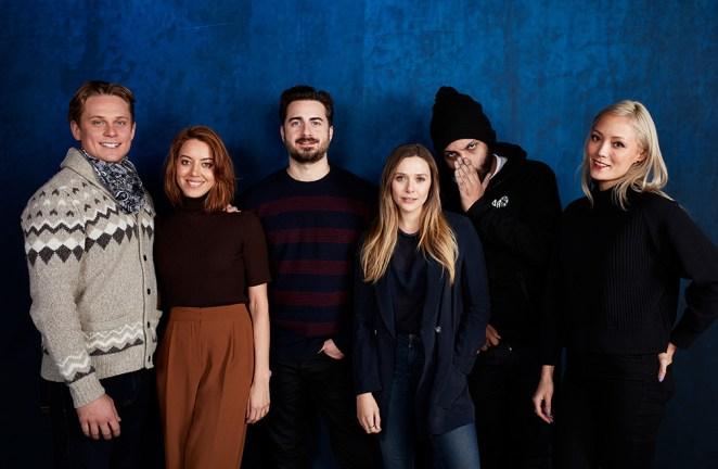 Billy Magnussen, Aubrey Plaza, director Matt Spicer, Elizabeth Olsen, O'Shea Jackson, Jr. and Pom Klementieff