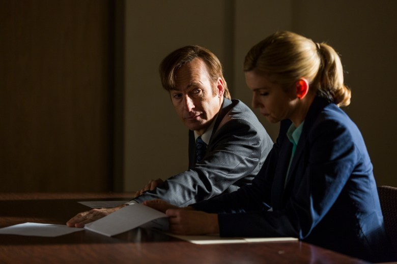 Bob Odenkirk as Jimmy McGill, Rhea Seehorn as Kim Wexler - Better Call Saul _ Season 3, Episode 4 - Photo Credit: Michele K. Short/AMC/Sony Pictures Television