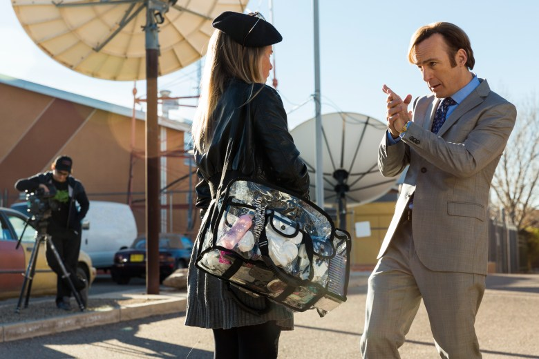 Bob Odenkirk as Jimmy McGill, Hayley Homles as Drama Girl, Josh Fadem as Camera Guy - Better Call Saul _ Season 3, Episode 6 - Photo Credit: Michele K. Short/AMC/Sony Pictures Television