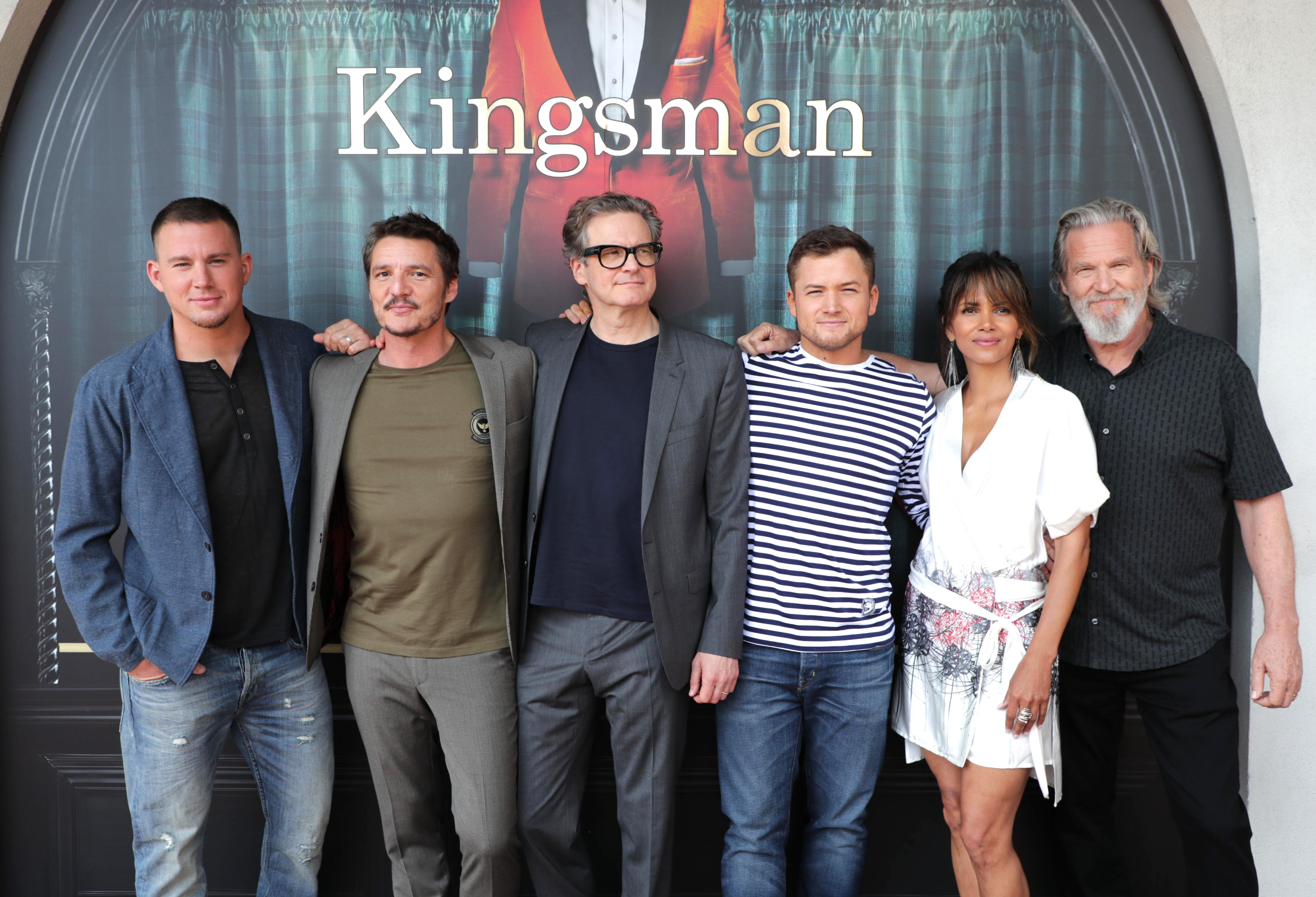 Channing Tatum, Pedro Pascal, Colin Firth, Taron Egerton, Halle Berry and Jeff BridgesThe cast of 'Kingsman: The Golden Circle' outside of the Kingsman tailor shop at 2017 Comic Con, San Diego, USA - 19 Jul 2017