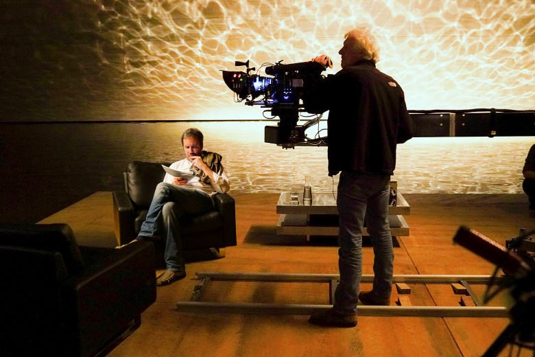 "Director Denis Villeneuve and DP Roger Deakins on the set of ""Blade Runner 2049"""