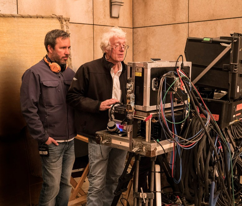 "Villeneuve and Deakins check the monitor on the ""Blade Runner"" set"