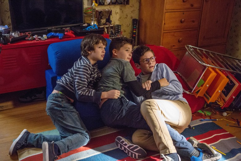 Dangerous Book for Boys Gabriel Bateman as Wyatt McKenna, Drew Logan Powell as Dash McKenna, and Kyan Zielinski as Liam McKenna