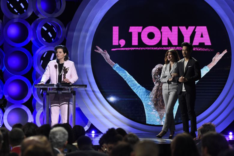 "Tatiana S. Riegel, John Cho, Kathryn Hahn. Tatiana S. Riegel accepts the award for best editing for ""I, Tonya"" at the 33rd Film Independent Spirit Awards, in Santa Monica, Calif. John Cho, right, and Kathryn Hahn look on2018 Film Independent Spirit Awards - Show, Santa Monica, USA - 03 Mar 2018"