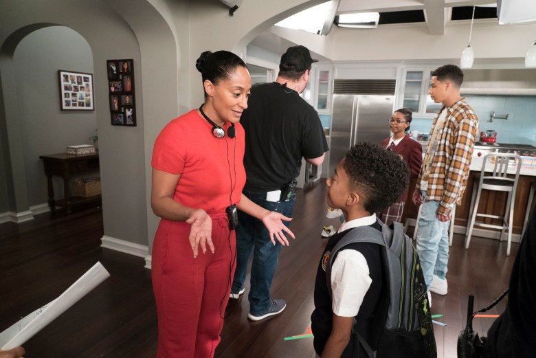 """BLACK-ISH - """"Fifty-Three Percent"""" - Dre and Bow have been fighting more than usual, and they decide to go back to their therapist who suggests they make time for a date night. Meanwhile, after Devante's first birthday party, the bouncy house gets left behind, and Jack and Diane take advantage of it in different ways, on """"black-ish,"""" TUESDAY, APRIL 17 (9:00-9:30 p.m. EDT), on The ABC Television Network. (ABC/Eric McCandless)TRACEE ELLIS ROSS (DIRECTOR), MILES BROWN, MARSAI MARTIN, MARCUS SCRIBNER"""