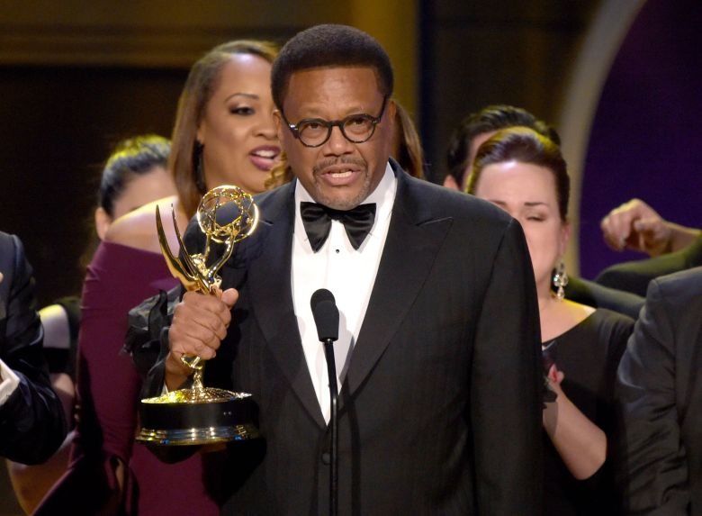 "Greg Mathis accepts the award for outstanding legal/courtroom program for "" Judge Mathis "" at the 45th annual Daytime Emmy Awards at the Pasadena Civic Center, in Pasadena, Calif45th Annual Daytime Emmy Awards - Show, Pasadena, USA - 29 Apr 2018"