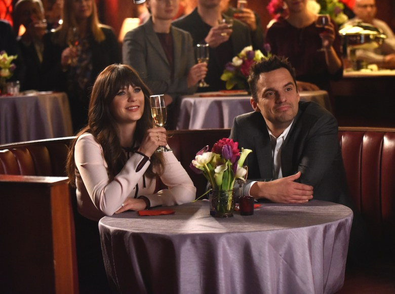 "NEW GIRL: L-R: Zooey Deschanel and Jake Johnson in ""The Curse of the Pirate Bride,"" the first part of the special one-hour series finale episode of NEW GIRL airing Tuesday, May 15 (9:00-9:30 PM ET/PT) on FOX. ©2018 Fox Broadcasting Co. Cr: Ray Mickshaw/FOX"