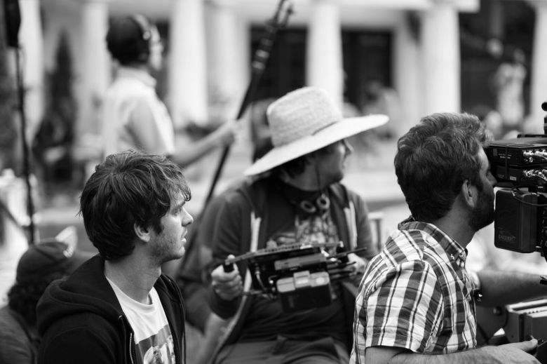 "Andrew Garfield, David Robert Mitchell and DP Mike Gioulakis on the set of ""Under the Silver Lake"""