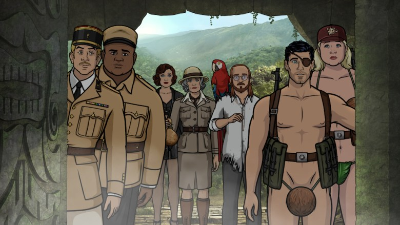 "ARCHER: Danger Island -- ""A Discovery"" -- Season 9, Episode 8 (Airs Wednesday, June 13, 10:00 p.m. e/p) Pictured (l-r): Reynaud (voice of Adam Reed), Doudou, Charlotte Vandertunt (voice of Judy Greer), Malory Archer (voice of Jessica Walter), Crackers (voice of Lucky Yates), Noah (voice of David Cross), Sterling Archer (voice of H. Jon Benjamin), Pam Poovey (voice of Amber Nash). CR: FXX"