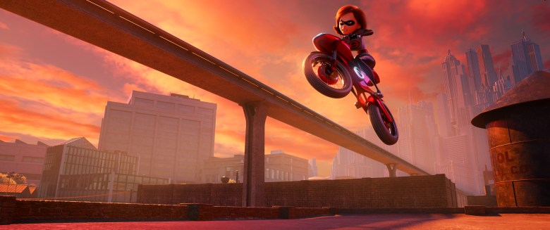 "SUPER CYCLE – When Helen aka Elastigirl is called on to help bring Supers back in ""Incredibles 2,"" she employs a brand-new, specially designed, state-of-the-art Elasticycle. Written and directed by Brad Bird and featuring the voice of Holly Hunter as Helen, Disney•Pixar's ""Incredibles 2"" busts into cinemas on July 13, 2018. ©2018 Disney•Pixar. All Rights reserved."