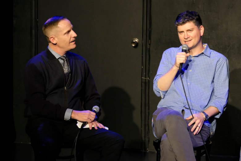 "THE GOOD PLACE -- ""FYC @ UCB"" -- Pictured: (l-r) Marc Evan Jackson, Michael Schur, Creator / Executive Producer at UCB Sunset Theatre on June 19, 2018 -- (Photo by: Justin Lubin/NBC)"