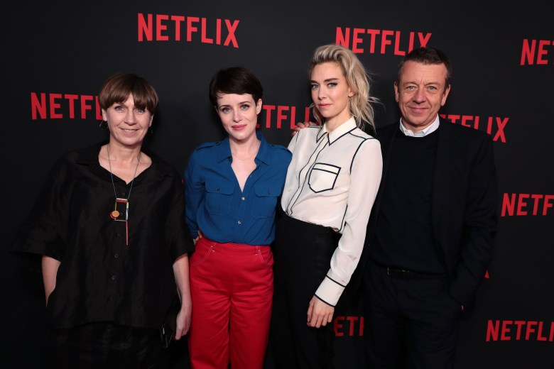 "Costume Designer Jane Petrie, Claire Foy, Vanessa Kirby and Creator/Exec. Producer/Writer Peter MorganNetflix original series ""The Crown"" ATAS Official Screening and Panel at the Wolf theater at Saban Media Center, Los Angeles, USA - 27 April 2018"
