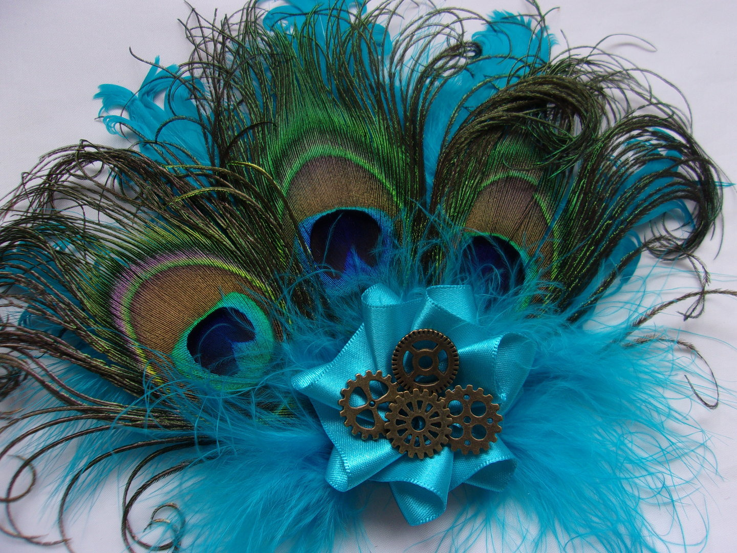 Turquoise Lagoon Azure Blue Peacock Feather Brass Cogs