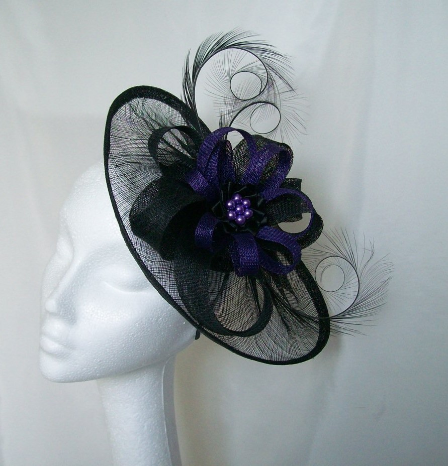 Black Amp Deep Purple Sinamay Saucer Amp Loop Curl Feather And