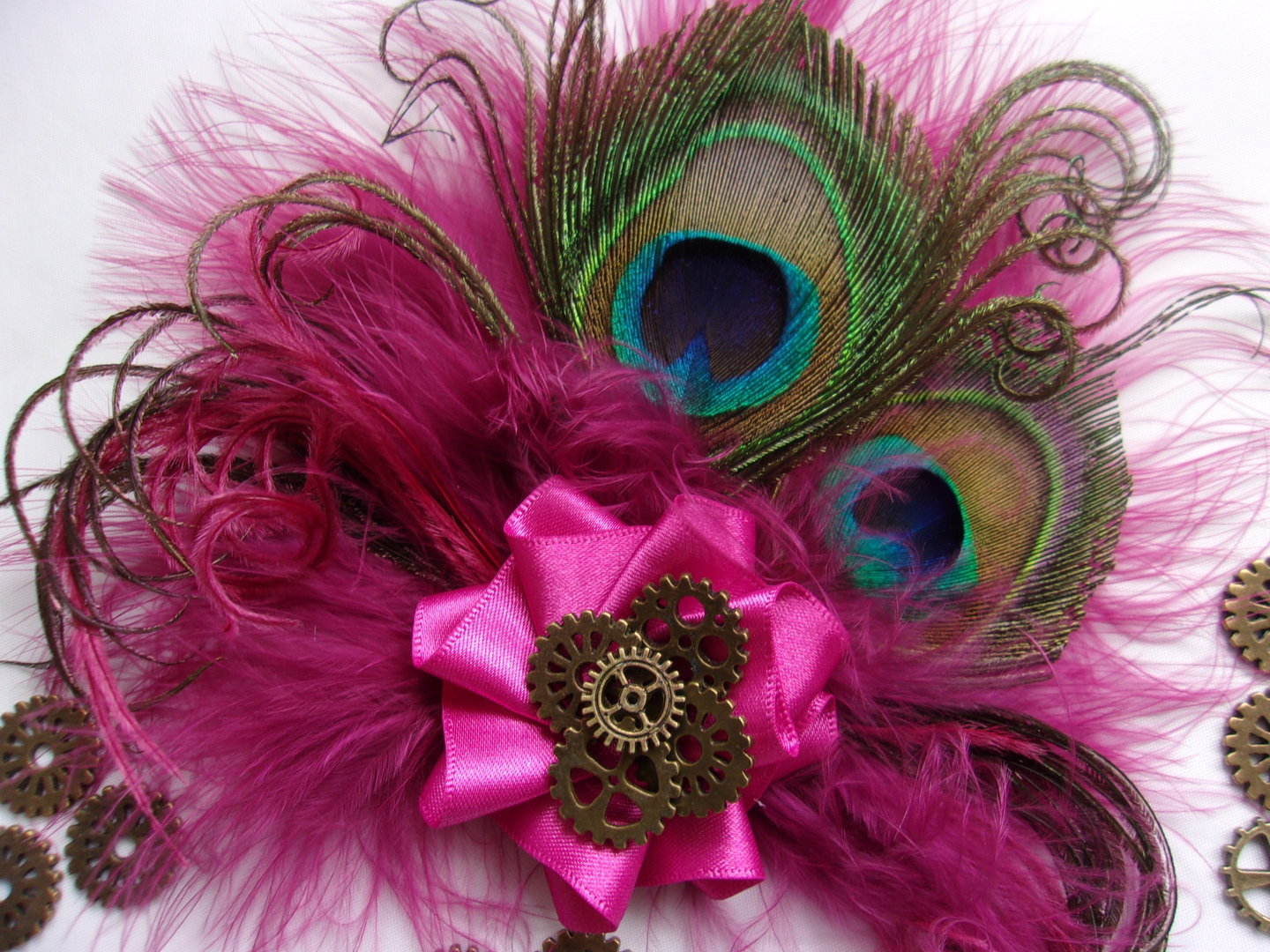 Raspberry Cerise Pink Peacock Feather Amp Brass Watch Cogs