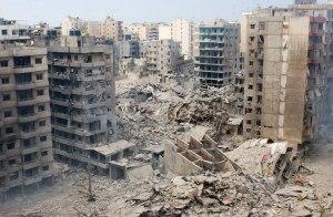 Edifici distrutti dai raid aerei israeliani