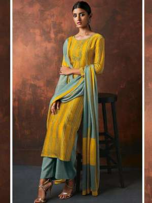 Ganga Kamara Bemberg Russian Silk With Embroidery Suit 4341 Ganga Kamara