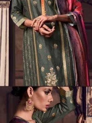 Omtex Tirth Woven Azza Silk With Hand Work Suit D.No.52 Omtex Tirth