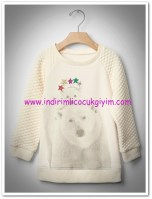 Gap kız çocuk ekru ayıcık desenli sweatshirt-100 TL