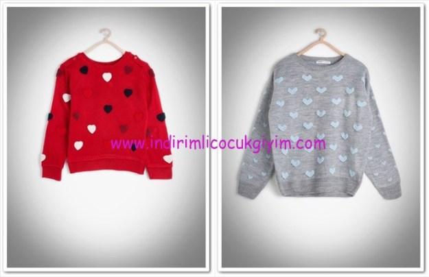 Koton kız çocuk kalp desenli kazak modelleri-