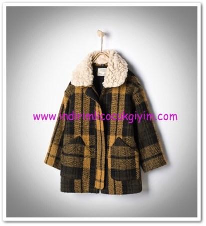 Zara 4-14 yaş kız çocuk kareli olive çıkarılabilir yakalı palto-166 TL