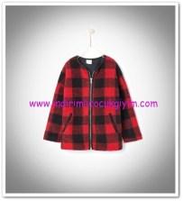Zara kız çocuk kırmızı ekose ceket-110 TL